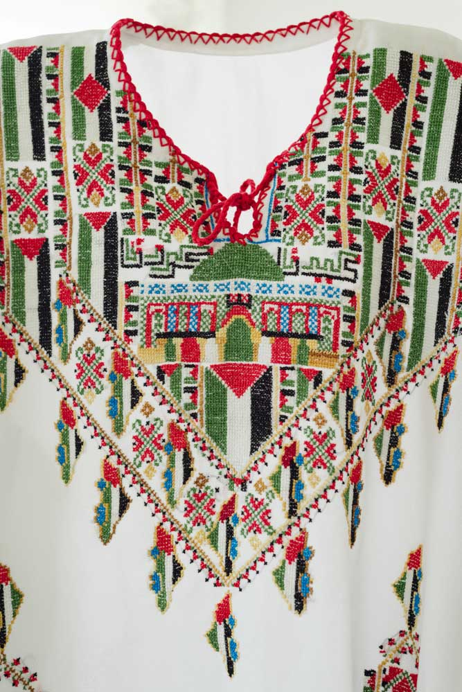 Detail of Intifada Dress, 1987-1993, from the collection of Widad Kawar, image Tanya Traboulsi for the Palestinian Museum.